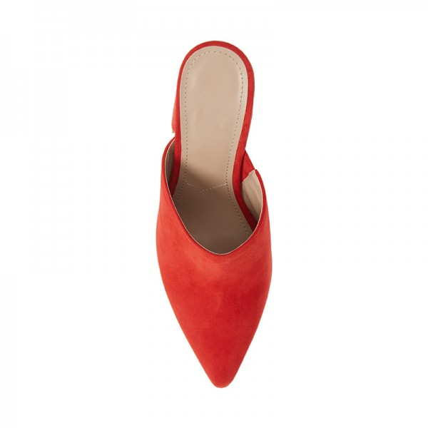 Red Suede Loafer Mules Pointed Toe Chunky Heel Mule image 4