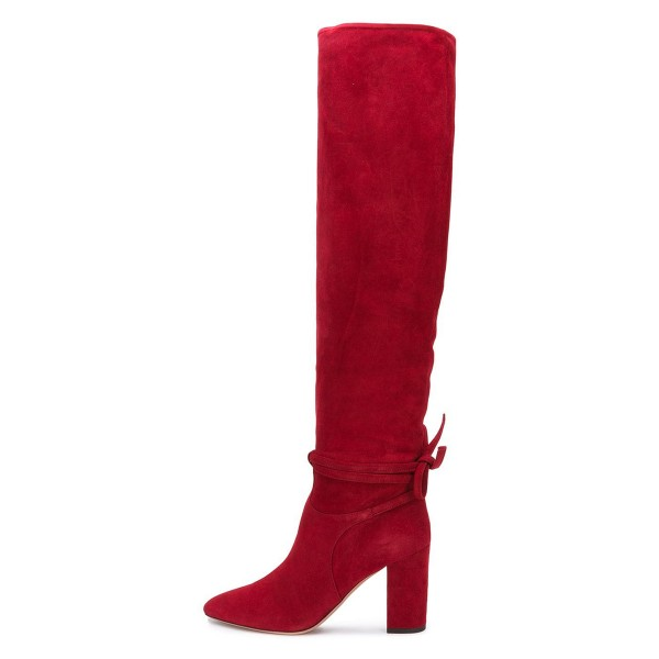 Red Suede Long Boots Chunky Heel Knee