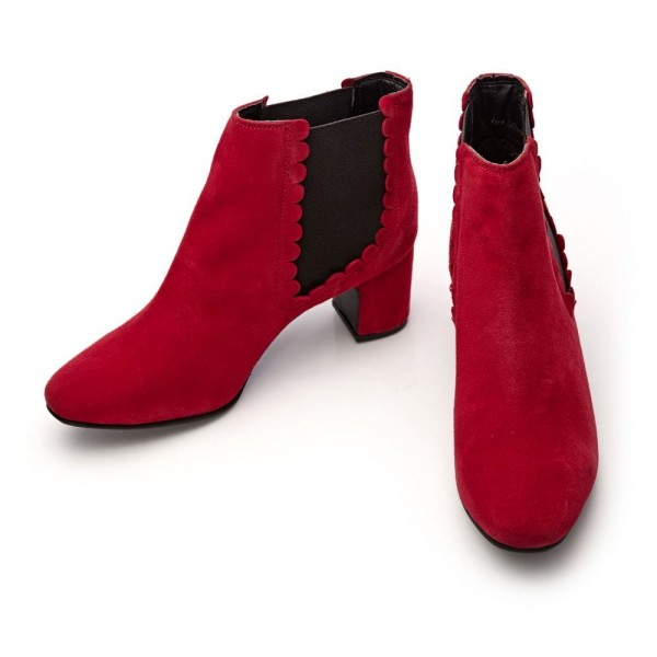 Red Suede Lotus Chelsea Boots Chunky Heels Ankle Booties image 3