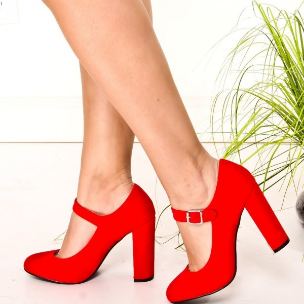 Red Suede Mary Jane Pumps Round Toe Chunky Heels Vintage Shoes image 1