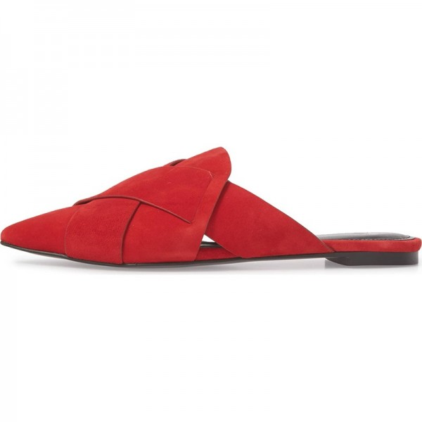 Red Suede Loafer Mules Pointed Toe Flat Mule image 5