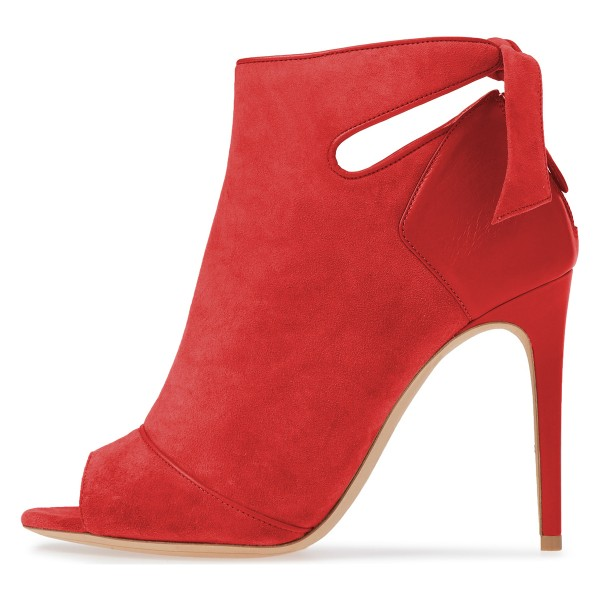 Red Fall Boots Peep Toe Back Tie Stiletto Heel Ankle Booties image 3
