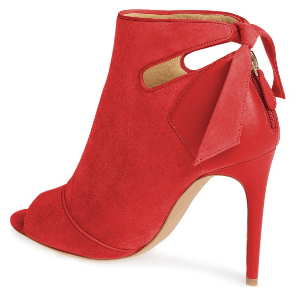 Red Fall Boots Peep Toe Back Tie Stiletto Heel Ankle Booties image 4