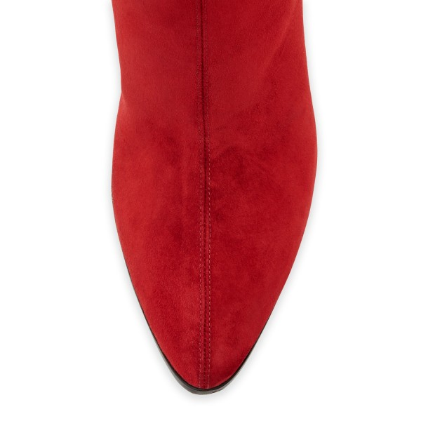 Red Western Boots Pointy Toe Cone Heel Suede Knee Boots image 2