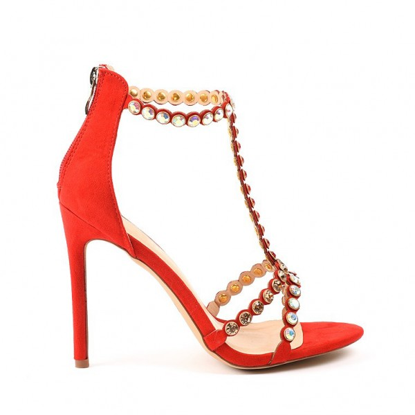 Red Rhinestone Open Toe T Strap Sandals image 4
