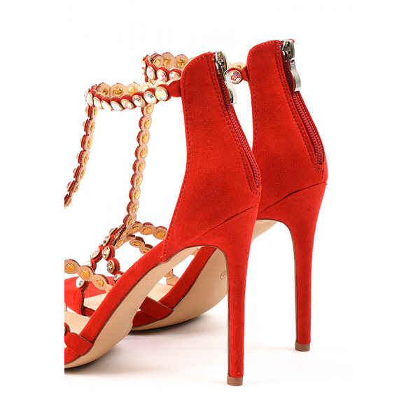 Red Rhinestone Open Toe T Strap Sandals image 6