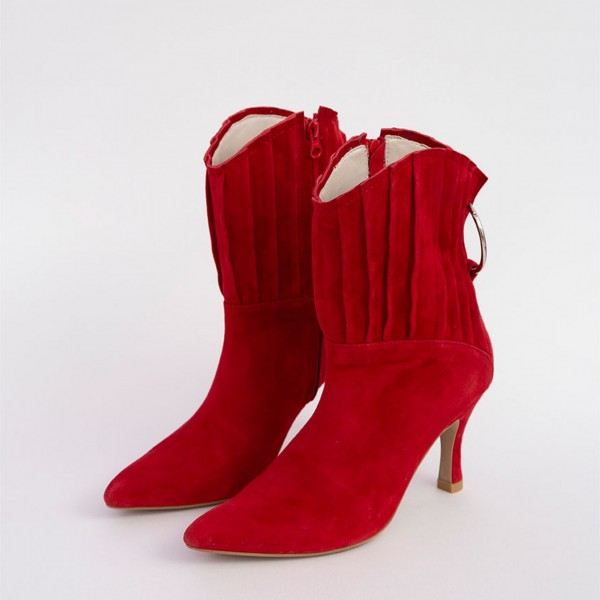 Red Suede Ruffle Spool Heel Ankle Booties with Metal Circle  image 1
