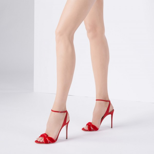 Red Suede Shoes Stilettos Ankle Strap Heel Sandals image 3
