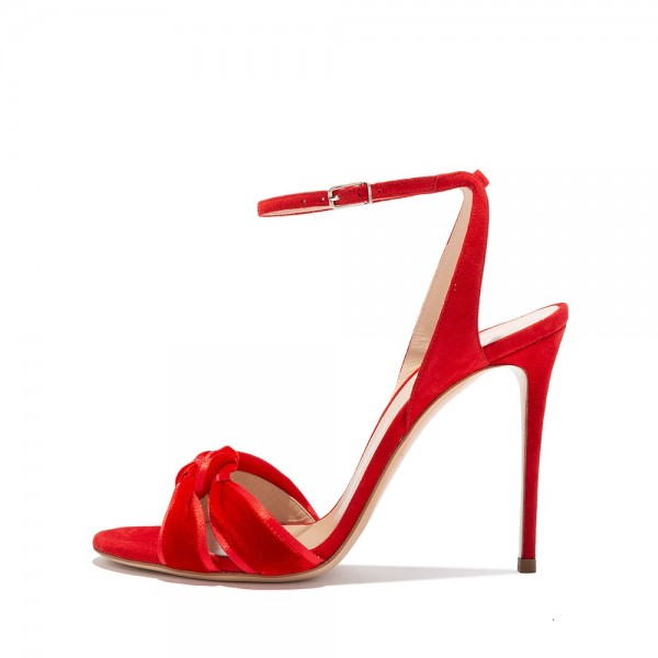 Red Suede Shoes Stilettos Ankle Strap Heel Sandals image 2