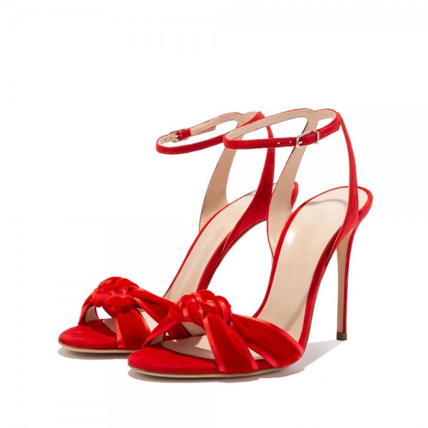 Red Suede Shoes Stilettos Ankle Strap Heel Sandals image 1