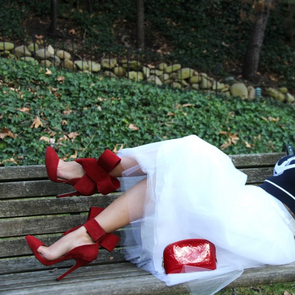 Women's Red Wedding Shoes Cute Bow Stiletto Heels Pointy Toe Ankle Strap Pumps image 4