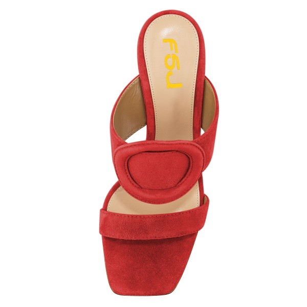 Red Suede Square Toe Chunky Heel Mule Sandals image 2