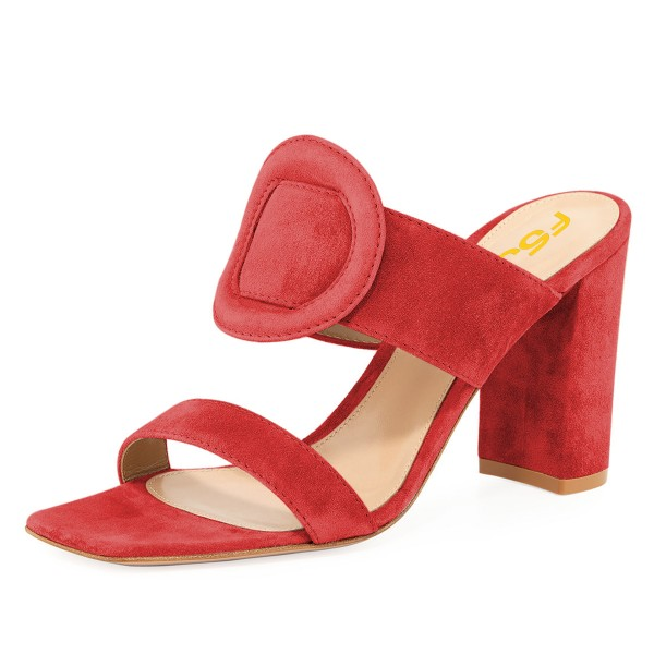 Red Suede Square Toe Chunky Heel Mule Sandals image 1