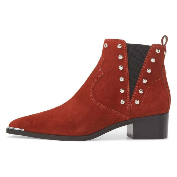Red Suede Studs Chelsea Boots Chunky Heel Ankle Booties image 2