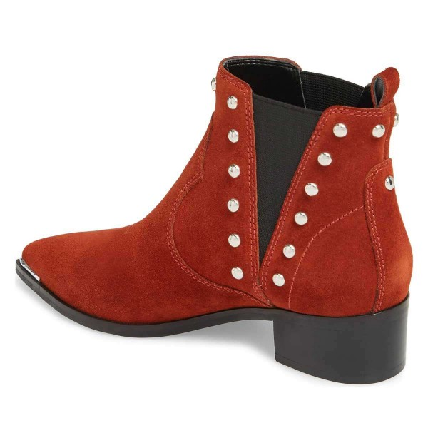 Red Suede Studs Chelsea Boots Chunky Heel Ankle Booties image 3