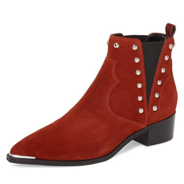 Red Suede Studs Chelsea Boots Chunky Heel Ankle Booties image 1