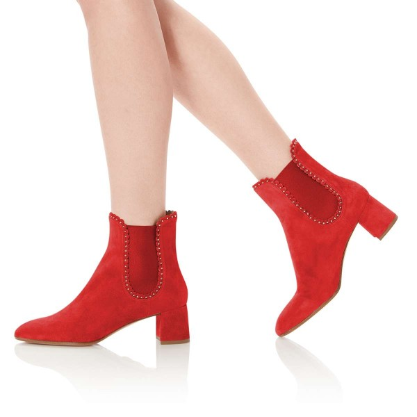 Red Suede Studs Chelsea Boots Chunky Heel Ankle Boots image 2