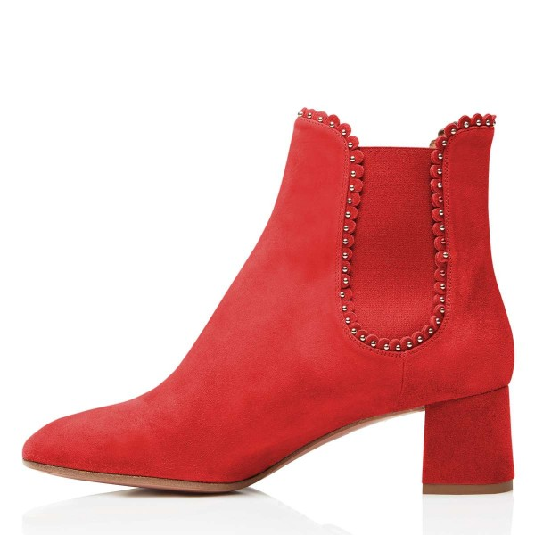 Red Suede Studs Chelsea Boots Chunky Heel Ankle Boots image 3