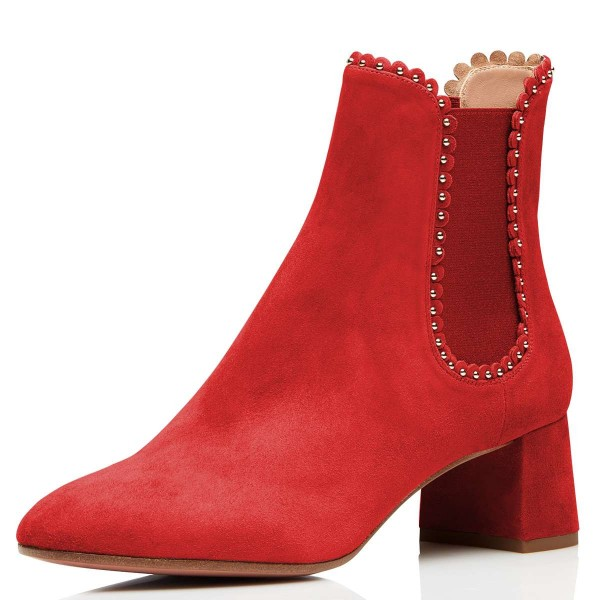 Red Suede Studs Chelsea Boots Chunky Heel Ankle Boots image 1