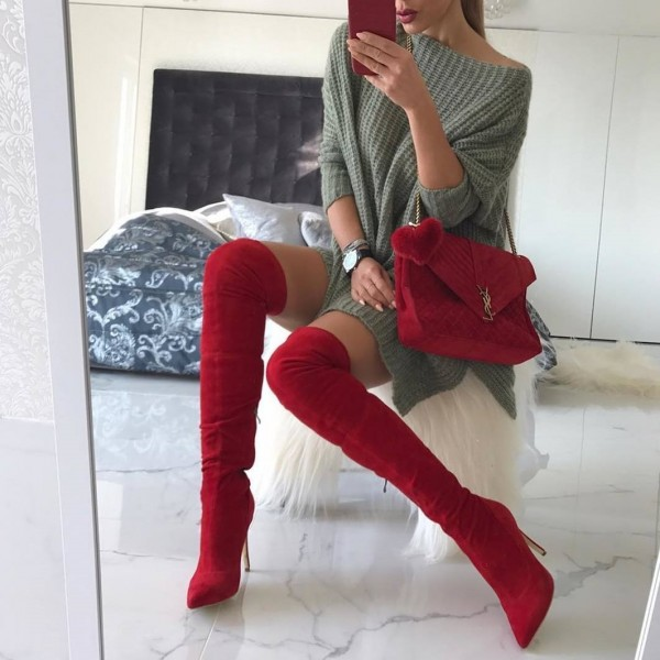 Red Suede Thigh High Heel Boots image 1