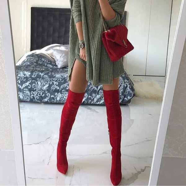 Red Suede Thigh High Heel Boots image 2