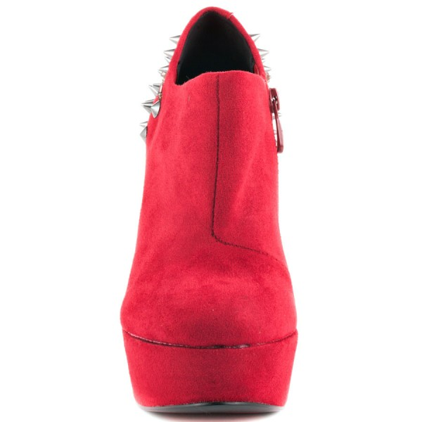 Red Wedge Shoes Fashion Boots Rivets Ankle Boots Suede Platform Almond Toe Boots image 4