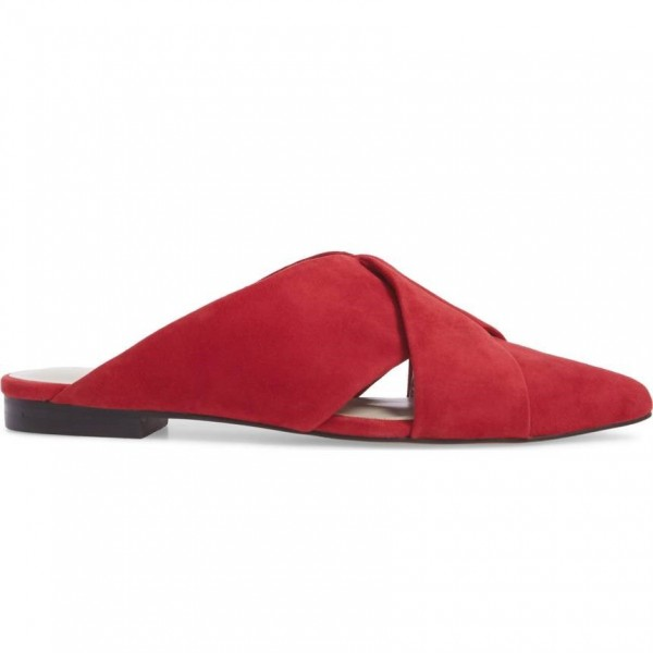 Red Suede Women's Mule Almond Toe Flats image 2