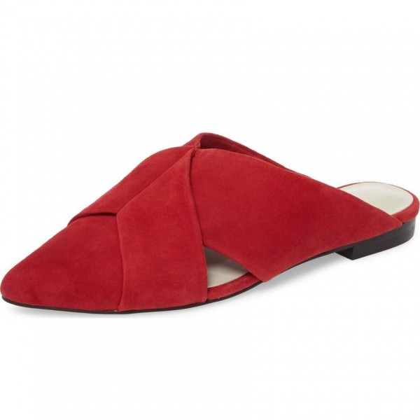 Red Suede Women's Mule Almond Toe Flats image 1