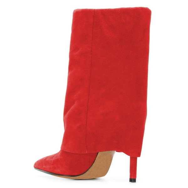 Red Suede Wrapped Stiletto Heel Ankle Booties image 3