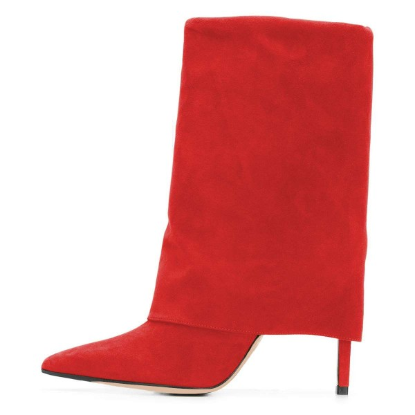 Red Suede Wrapped Stiletto Heel Ankle Booties image 4