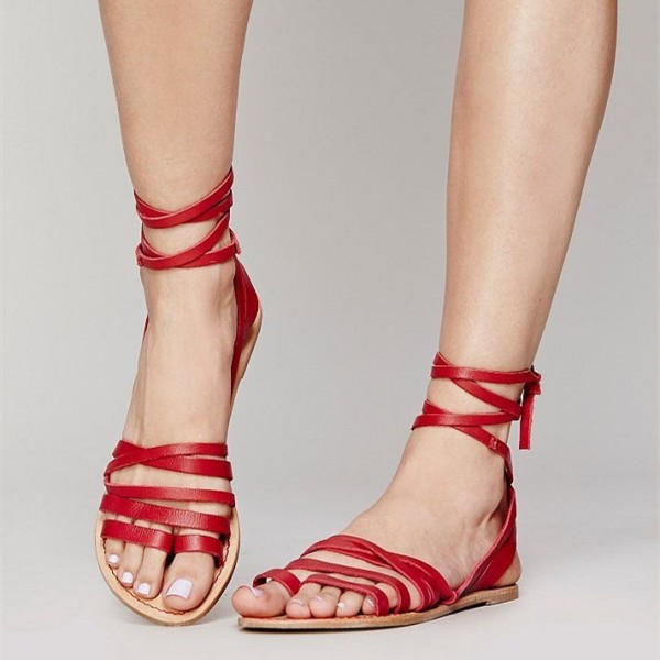 12d5efdc888ab8 Red Summer Beach Sandals Open Toe Flats Strappy Sandals for Date ...