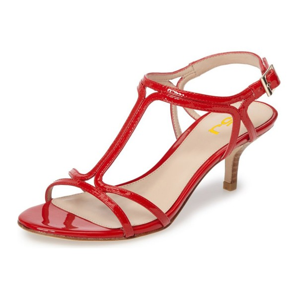 Red T Strap Sandals Open Toe Kitten Heels Sandals for Office Lady image 1
