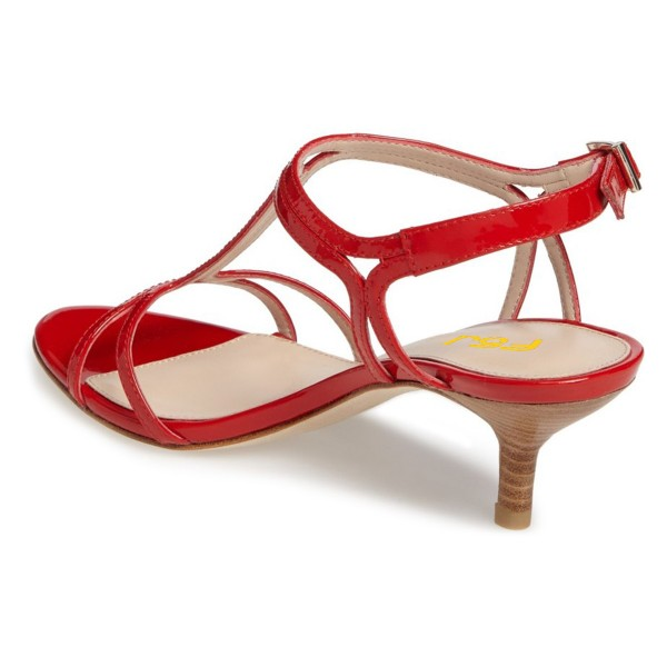 Red T Strap Sandals Open Toe Kitten Heels Sandals for Office Lady image 3
