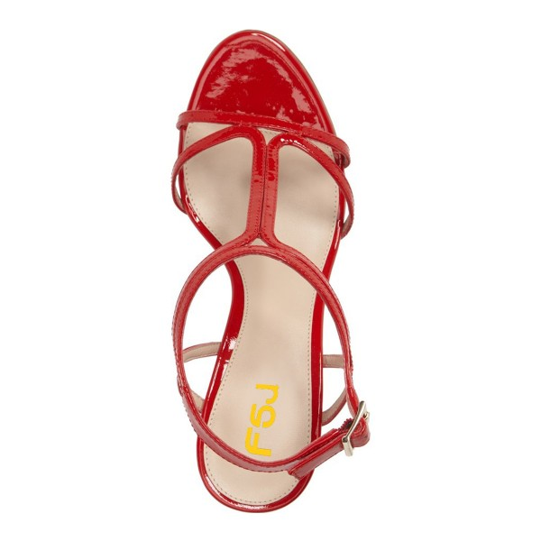 Red T Strap Sandals Open Toe Kitten Heels Sandals for Office Lady image 4