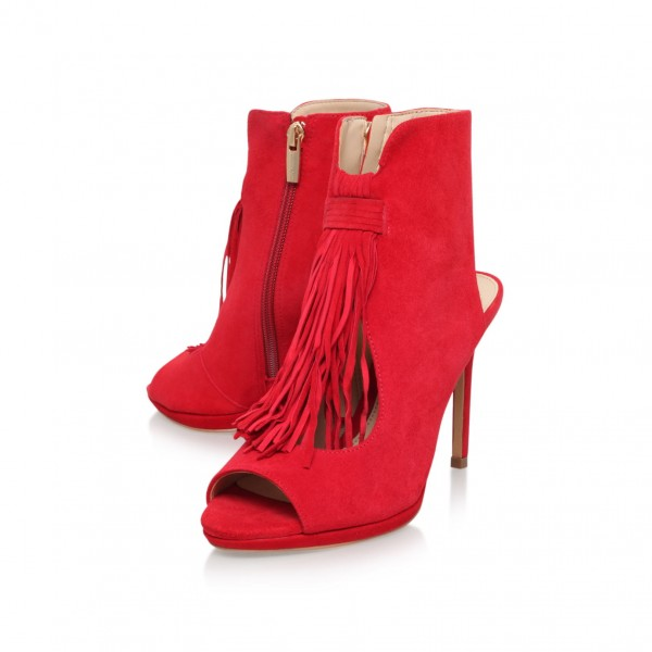 Red Fringe Summer Boots Cut out Peep Toe Suede Slingback Shoes image 1