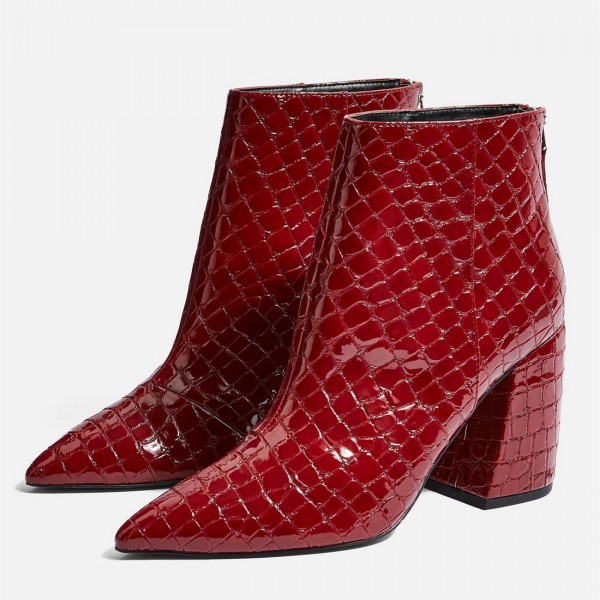 Red Textured Pointy Toe Block Heel Ankle Booties image 1