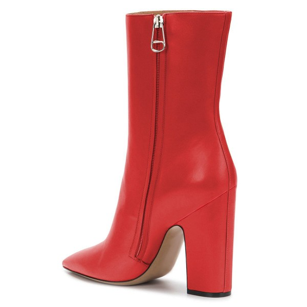 Red Pointy Toe Chunky Heel Boots Fashion Ankle Booties with Zipper image 3