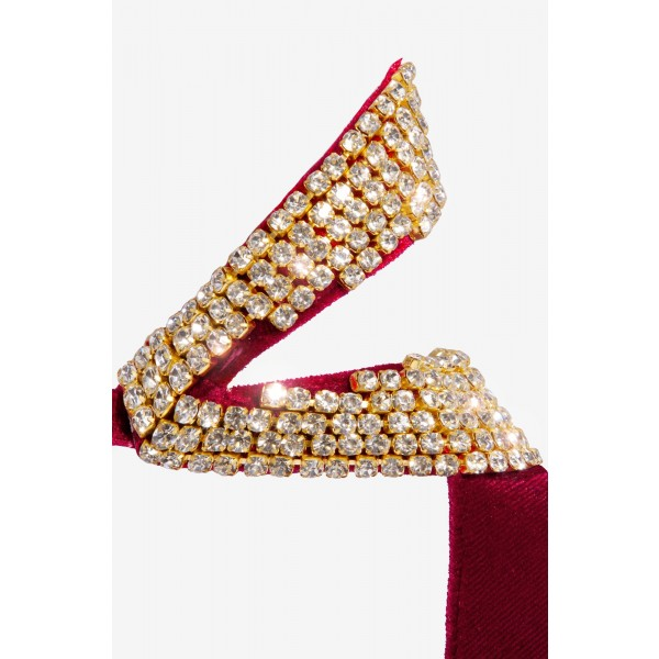 Burgundy Velvet Rhinestone Open Toe Stiletto Heels Ankle Strap Sandals image 2