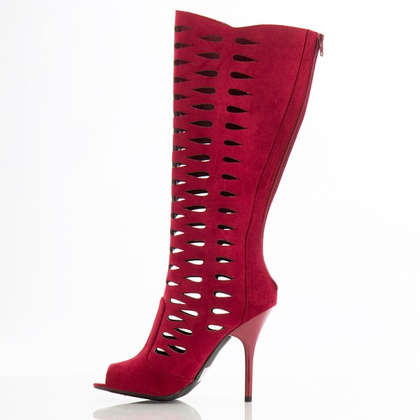 Red Suede Hollow Out Peep Toe Booties Stiletto Heel Mid Calf Boots image 1