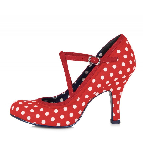 Red Mary Jane Pumps Lolita Polka Dot Round Toe Comfortable Shoes image 2