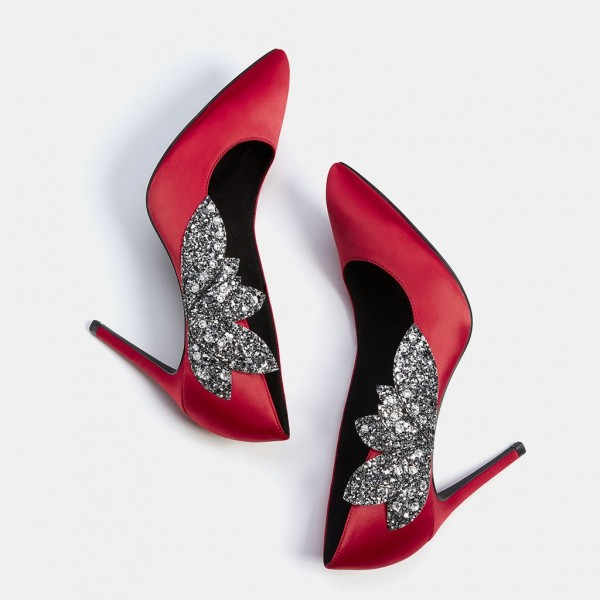 Red Wedding Shoes Satin Rhinestone Pointy Toe Stiletto Heels Pumps image 1