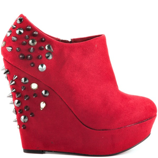 Red Wedge Shoes Fashion Boots Rivets Ankle Boots Suede Platform Almond Toe Boots image 5