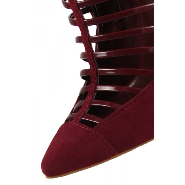 Burgundy Summer Boots Pointy Toe Suede Stiletto Heel Ankle Booties image 2
