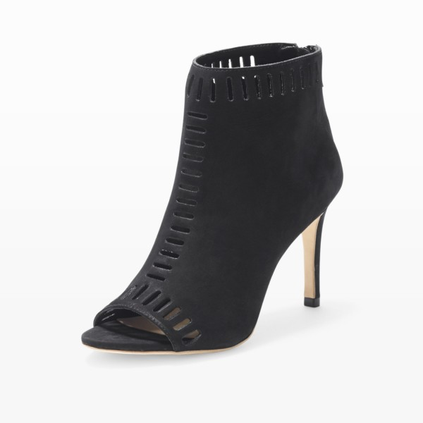Retro Black Hollow-Out Summer Boots Peep Toe Stiletto Ankle Boots  image 1