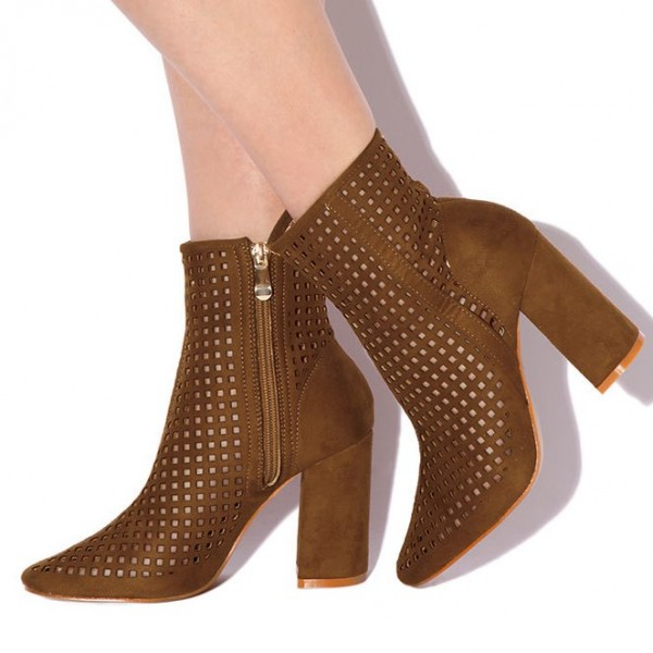 Retro Brown Boots Fashion Suede Hollow Out Pointy Toe Ankle Boots image 1