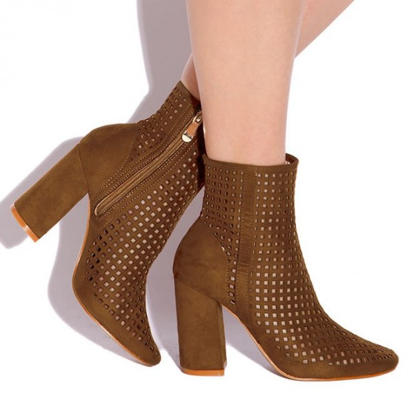 Retro Brown Boots Fashion Suede Hollow Out Pointy Toe Ankle Boots image 4