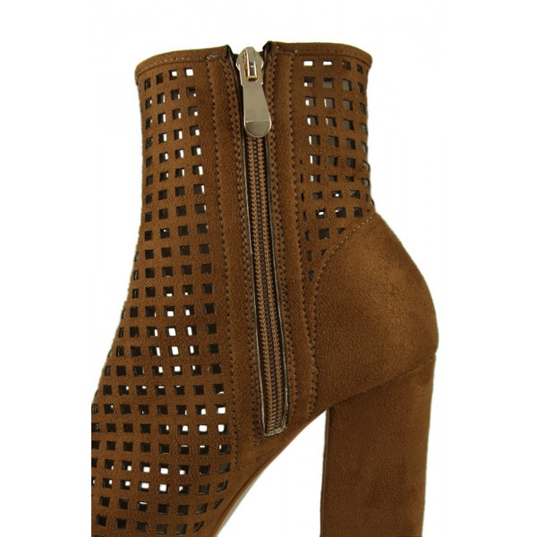 Retro Brown Boots Fashion Suede Hollow Out Pointy Toe Ankle Boots image 2