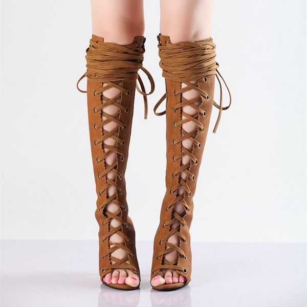 Retro Brown Summer Boots Peep Toe Slingbacks  Lace Up Long Boots  image 2