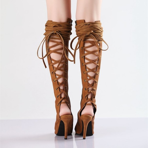 Retro Brown Summer Boots Peep Toe Slingbacks  Lace Up Long Boots  image 4