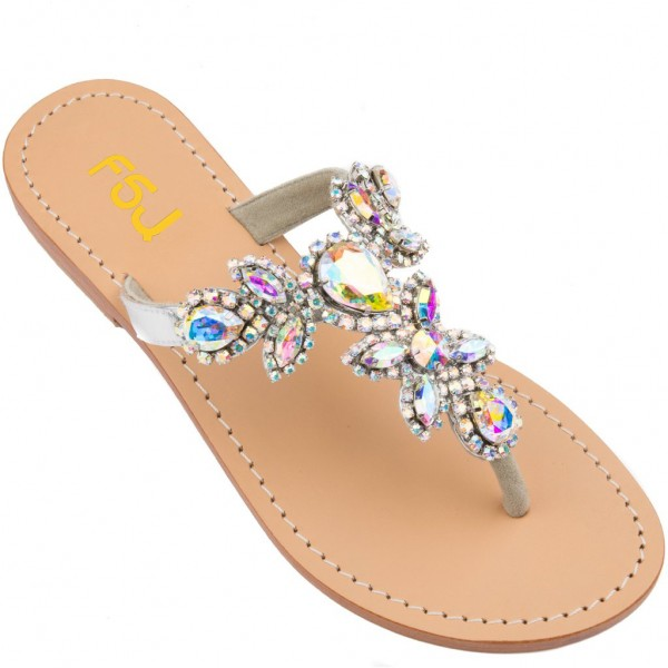 Colorful Jeweled Sparkly Sandals Flat Summer Beach Flip Flops image 2